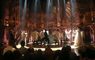 """NEW YORK, NEW YORK - SEPTEMBER 14: The cast takes the curtain call at the Re-Opening of """"Hamilton"""" on Broadway at The Richard Rogers Theater on September 14, 2021 in New York City. (Photo By Bruce Glikas/Getty Images)"""