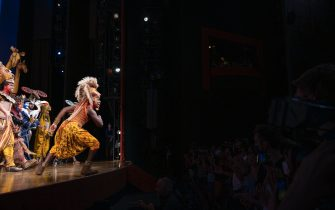"""NEW YORK, NEW YORK - SEPTEMBER 14: Brandon A. McCall during curtain call at the Broadway reopening of """"The Lion King"""" at The Minksoff Theatre on September 14, 2021 in New York City. (Photo by Jenny Anderson/Getty Images)"""