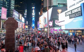 """NEW YORK, NEW YORK - SEPTEMBER 14: A view of Times Square on September 14, 2021 in New York City. Four major musicals including """"Wicked"""", """"Chicago"""", """"Hamilton"""" and """"The Lion King"""" all reopened tonight for the first time since Broadway shut down 18 months ago due to the coronavirus pandemic. All Broadway shows are requiring patrons be vaccinated and masked except when eating or drinking.  (Photo by Alexi Rosenfeld/Getty Images)"""