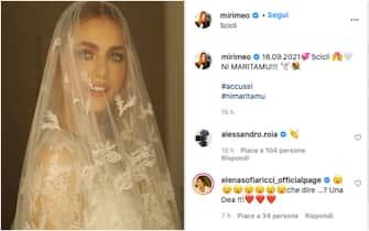 Miriam Leone in abito da sposa in una foto postata su Instagram