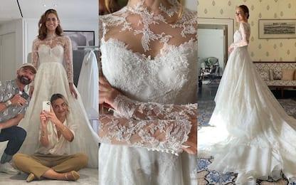 L'abito da sposa di Miriam Leone firmato Christian Dior. FOTO