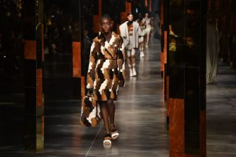 A model wears a creation by Fendi as part of the  Women's Spring-Summer 2022 collection presented during the Fashion Week in Milan on September 22, 2021. (Photo by Tiziana FABI / AFP) (Photo by TIZIANA FABI/AFP via Getty Images)