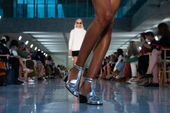 MILAN, ITALY - SEPTEMBER 23: A model, shoe detail, walks the runway at the Max Mara fashion show during the Milan Fashion Week - Spring / Summer 2022 on September 23, 2021 in Milan, Italy. (Photo by Pietro D'Aprano/Getty Images)