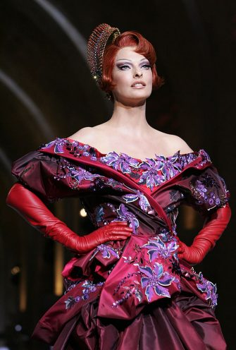 Linda Evangelista walks down the catwalk wearing Dior Haute Couture Fall/Winter 2008 on July 2 in Versailles, France. (Photo by Toni Anne Barson Archive/WireImage)
