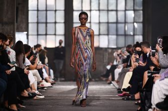 A model presents a creation for Missoni's Women's Spring-Summer 2022 collection during the Fashion Week in Milan on September 24, 2021. (Photo by Marco BERTORELLO / AFP) (Photo by MARCO BERTORELLO/AFP via Getty Images)