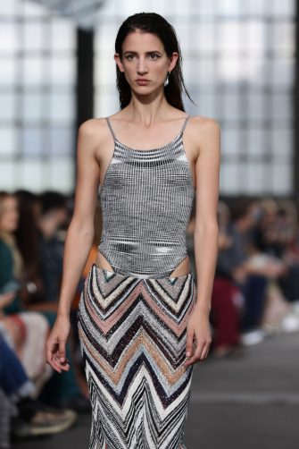 MILAN, ITALY - SEPTEMBER 24: A model walks the runway at the Missoni fashion show during the Milan Fashion Week - Spring / Summer 2022 on September 24, 2021 in Milan, Italy. (Photo by Vittorio Zunino Celotto/Getty Images)