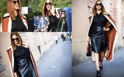 Miriam Leone alla Milano Fashion Week. FOTO