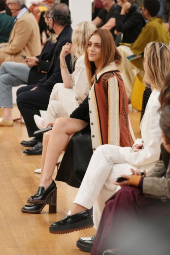 MILAN, ITALY - SEPTEMBER 24: Miriam Leone is seen on the front row of the Tod's fashion show during the Milan Fashion Week - Spring / Summer 2022 on September 24, 2021 in Milan, Italy. (Photo by Pietro S. D'Aprano/Getty Images)