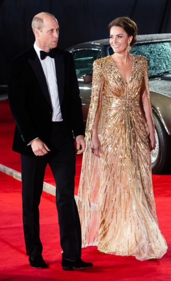 """LONDON, ENGLAND - SEPTEMBER 28: Catherine, Duchess of Cambridge and Prince William, Duke of Cambridge attend the """"No Time To Die"""" World Premiere at Royal Albert Hall on September 28, 2021 in London, England. (Photo by Samir Hussein/WireImage)"""
