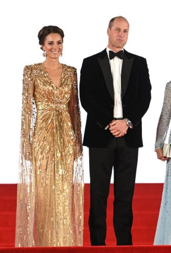 """LONDON, ENGLAND - SEPTEMBER 28: Prince William, Duke of Cambridge and Catherine, Duchess of Cambridge attend the """"No Time To Die"""" World Premiere at Royal Albert Hall on September 28, 2021 in London, England. (Photo by Karwai Tang/WireImage)"""