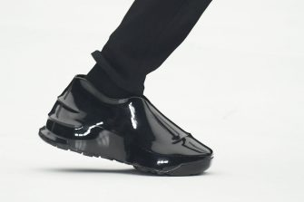 NANTERRE, FRANCE - OCTOBER 03: (EDITORIAL USE ONLY - For Non-Editorial use please seek approval from Fashion House) A model (Shoes detail) walks the runway during the Givenchy  Womenswear Spring/Summer 2022 show as part of Paris Fashion Week at U Arena on October 03, 2021 in Nanterre, France. (Photo by Stephane Cardinale - Corbis/Corbis via Getty Images)