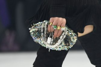 NANTERRE, FRANCE - OCTOBER 03: (EDITORIAL USE ONLY - For Non-Editorial use please seek approval from Fashion House) A model (Bag detail) walks the runway during the Givenchy  Womenswear Spring/Summer 2022 show as part of Paris Fashion Week at U Arena on October 03, 2021 in Nanterre, France. (Photo by Stephane Cardinale - Corbis/Corbis via Getty Images)
