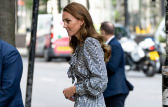 LONDON, ENGLAND - OCTOBER 05: Catherine, Duchess of Cambridge arrives to discuss a new holistic study into the early years at University College on October 5, 2021 in London, England. (Photo by Mark Cuthbert/UK Press via Getty Images)
