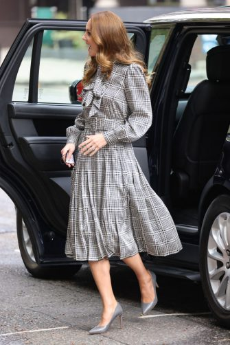 LONDON, ENGLAND - OCTOBER 05: Catherine, Duchess of Cambridge arrives at University College London on October 05, 2021 in London, England. (Photo by Neil Mockford/GC Images)