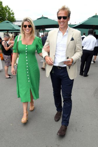 LONDON, ENGLAND - JULY 06: Natasha Archer and Royal photographer Chris Jackson attend day six of the Wimbledon Tennis Championships at All England Lawn Tennis and Croquet Club on July 06, 2019 in London, England. (Photo by Karwai Tang/Getty Images)