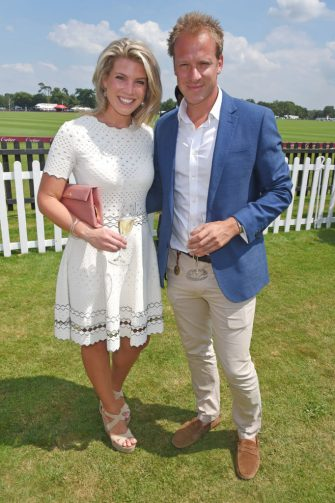 EGHAM, ENGLAND - JUNE 18:  Natasha Archer (L) and Chris Jackson attend the Cartier Queen's Cup Polo final at Guards Polo Club on June 18, 2017 in Egham, England.  (Photo by David M Benett/Dave Benett/Getty Images)