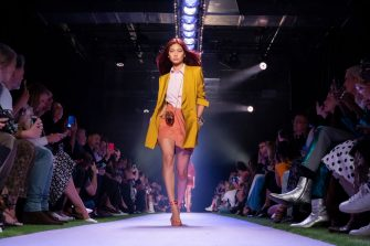 NEW YORK, NEW YORK - SEPTEMBER 07: HoYeon Jung walks the runway for Brandon Maxwell during New York Fashion Week: The Shows on September 07, 2019 in New York City. (Photo by Peter White/WireImage)