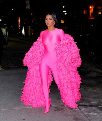 """NEW YORK, NEW YORK - OCTOBER 10: Kim Kardashian arrives at the afterparty for """"Saturday Night Live"""" on October 10, 2021 in New York City. (Photo by Gotham/GC images)"""