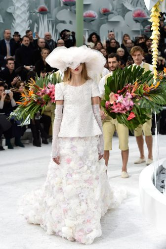PARIS, FRANCE - JANUARY 27:  A model in the wedding dress walks the runway during the Chanel show finale as part of Paris Fashion Week Haute Couture Spring/Summer 2015 on January 27, 2015 in Paris, France.  (Photo by Pascal Le Segretain/Getty Images)