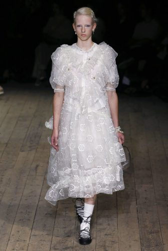 LONDON, ENGLAND â   SEPTEMBER 15: A model walks the runway at the Simone Rocha show during London Fashion Week September 2019 on September 15, 2019 in London, England. (Photo by Estrop/WireImage)