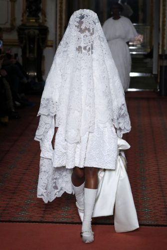 LONDON, England â   February 16: A model walks the runway at the Simone Rocha show during London Fashion Week February 2020 on February 16, 2020 in London, England.  (Photo by Estrop/Getty Images)
