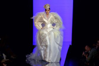 Chinese model Liu Wen presents a creation by Jean Paul Gaultier during the Haute Couture Fall-Winter 2013/2014 collection show, on July 3, 2013 in Paris.  AFP PHOTO/MIGUEL MEDINA        (Photo credit should read MIGUEL MEDINA/AFP via Getty Images)