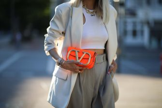 HAMBURG, GERMANY - JUNE 21: Leonie Hanne wearing Valentino bag, Off white top, Storets blazer and Frankie Shop pants on June 21, 2020 in Hamburg, Germany. (Photo by Jeremy Moeller/Getty Images)