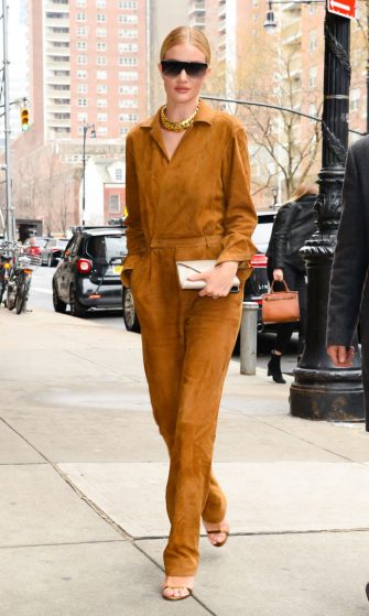 NEW YORK, NY - FEBRUARY 07:  Model Rosie Huntington-Whiteley is seen walking in soho on February 7, 2019 in New York City.  (Photo by Raymond Hall/GC Images)