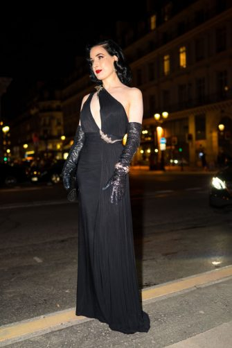 PARIS, FRANCE - FEBRUARY 26: (EDITORIAL USE ONLY) Dita Von Teese attends the Harper's Bazaar Exhibition as part of the Paris Fashion Week Womenswear Fall/Winter 2020/2021 At Musee Des Arts Decoratifs on February 26, 2020 in Paris, France. (Photo by Edward Berthelot/GC Images)