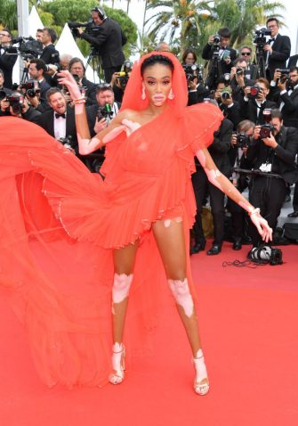 """CANNES, FRANCE - MAY 21: Winnie Harlow attends the screening of """"Once Upon A Time In Hollywood"""" during the 72nd annual Cannes Film Festival on May 21, 2019 in Cannes, France. (Photo by George Pimentel/WireImage)"""