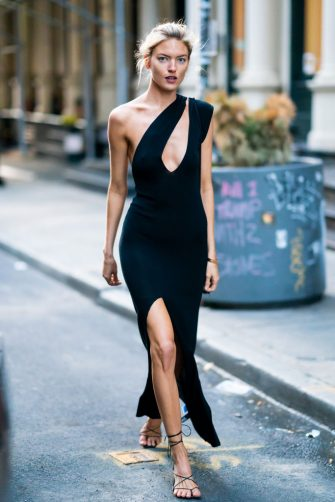 NEW YORK, NEW YORK - APRIL 15: Martha Hunt is seen wearing a Jacquemeus dress with Pluma bracelet in Tribeca on April 15, 2019 in New York City. (Photo by TheStewartofNY/GC Images)