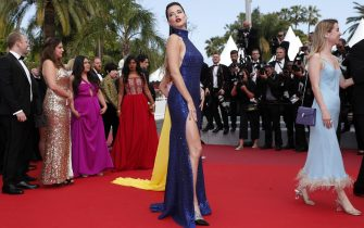 epaselect epa07592555 Adriana Lima (C) arrives for the screening of 'Roubaix, une lumiere' (Oh Mercy!) during the 72nd annual Cannes Film Festival, in Cannes, France, 22 May 2019. The movie is presented in the Official Competition of the festival which runs from 14 to 25 May.  EPA/IAN LANGSDON