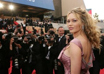 """CANNES, FRANCE - MAY 12:  Model Anna Falchi attends the premiere of the film """"Match Point"""" at the Palais during the 58th International Cannes Film Festival May 12, 2005 in Cannes, France.  (Photo by Evan Agostini/Getty Images)"""