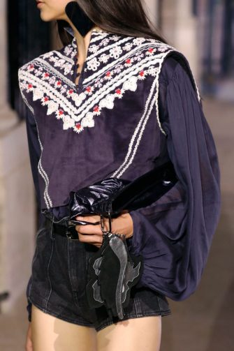 PARIS, FRANCE â   OCTOBER 1: Bag detail during the Isabel Marant fashion show during Paris Women's Fashion Week Spring/Summer 2021 on October 1, 2020 in Paris, France. (Photo by Estrop/Getty Images)