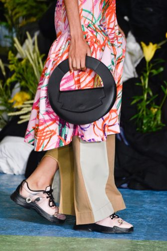 PARIS, FRANCE - OCTOBER 01: A model, bag detail, walks the runway during the Alphonse Maitrepierre Womenswear Spring/Summer 2021 show as part of Paris Fashion Week on October 01, 2020 in Paris, France. (Photo by Peter White/Getty Images)