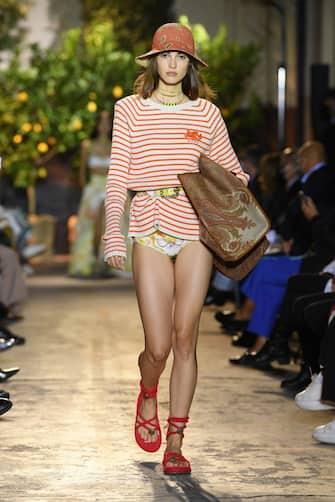 MILAN, ITALY - SEPTEMBER 24: A model walks the runway at the Etro fashion show during the Milan Women's Fashion Week on September 24, 2020 in Milan, Italy. (Photo by Daniele Venturelli/Daniele Venturelli/WireImage )