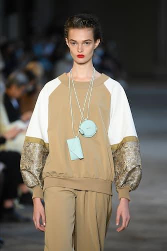 MILAN, ITALY - SEPTEMBER 24: A model walks the runway at the Max Mara fashion show during the Milan Women's Fashion Week on September 24, 2020 in Milan, Italy. (Photo by Daniele Venturelli/Daniele Venturelli/WireImage )