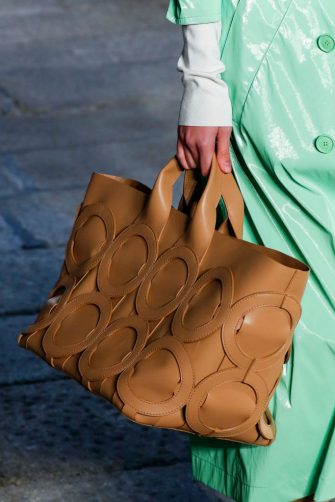 MILANO, ITALY â   SEPTEMBER 25: Bag detail during the Boss fashion show during Milan Women's Fashion Week Spring/Summer 2021 on September 25, 2020 in Milano, Italy. (Photo by Estrop/Getty Images)