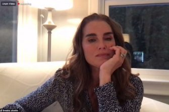 """UNSPECIFIED LOCATION - JULY 01: (EDITORS NOTE: Best quality available) In this screengrab, Brooke Shields speaks during a livestream event hosted by TheMOMS.com's Denise Albert And Melissa Gerstein's #Mamarazzi Online for her new """"At Home Workout"""" series on July 1, 2020.  (Photo by The MOMS Network, Inc via Getty Images)"""