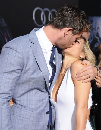 HOLLYWOOD, CA - APRIL 13:  (L-R) Actor Chris Hemsworth and his wife actress Elsa Pataky arrive at the Premiere Of Marvel's 'Avengers: Age Of Ultron' at the Dolby Theatre on April 13, 2015 in Hollywood, California.  (Photo by Barry King/Getty Images)