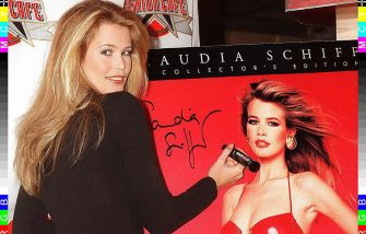 NEW YORK, NY - DECEMBER 2:  Supermodel Claudia Schiffer shows off her new Collector's Edition 1997 Calendar at the Fashion Cafe in New York City 02 December. The calendar features 16 of her favorite photos taken by the world's top photographers.  (Photo credit should read MALCOLM CLARKE/AFP via Getty Images)