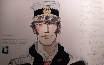 "A picture taken on April 6, 2018 shows a drawing of the hero Corto Maltese at the exhibition ""Hugo Pratt, lignes d'horizons"" at the Confluences Museum in Lyon, central-eastern France. Hugo Pratt is an Italian author of comic strips best known for his work ""Corto Maltese"". The exhibition will run until March 24, 2019. / AFP PHOTO / ROMAIN LAFABREGUE / RESTRICTED TO EDITORIAL USE - MANDATORY MENTION OF THE ARTIST UPON PUBLICATION - TO ILLUSTRATE THE EVENT AS SPECIFIED IN THE CAPTION        (Photo credit should read ROMAIN LAFABREGUE/AFP via Getty Images)"