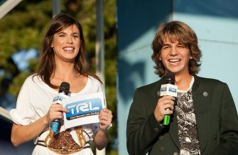 ROME - NOVEMBER 17: Elisabetta Canalis and singer Jacopo Sarno attend MTV's 'TRL Total Request Live' at Eur on November 17, 2009 in Rome, Italy.  (Photo by Elisabetta A. Villa/WireImage)