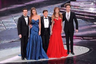 Luca Bizzarri, Belen Rodriguez, Gianni Morandi, Elisabetta Canalis and Paolo Kessisoglu attend the 61th Sanremo Song Festival at the Ariston Theatre on February 15, 2011 in San Remo, Italy.