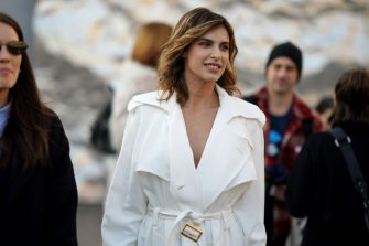 MILAN, ITALY - FEBRUARY 19: Elisabetta Canalis wears earrings, a white jacket, outside Alberta Ferretti, during Milan Fashion Week Fall/Winter 2020-2021, on February 19, 2020 in Milan, Italy. (Photo by Edward Berthelot/Getty Images)