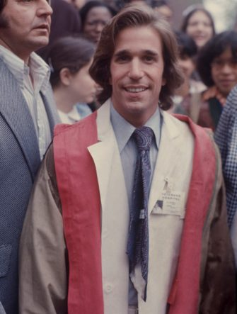 "Henry Winkler in a white lab coat for the movie ""Heroes""; 1977. (Photo by Art Zelin/Getty Images)"