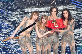 SANREMO, ITALY - MARCH 06:  Maneskin band celebrates on stage during the 71th Sanremo Music Festival 2021 at Teatro Ariston on March 06, 2021 in Sanremo, Italy. (Photo by Jacopo M. Raule/Getty Images)