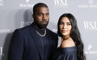 epa07977720 US rapper Kayne West (L) and his wife Television personality Kim Kardashian West (R) pose for a photo at the WSJ Mag 2019 Innovator Awards at The Museum of Modern Art in New York, New York, USA, 06 November 2019.  EPA/JASON SZENES