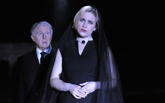 Tim Pigott-Smith as Charles and Katie Brayben as Ghost in Mike Bartlett's King Charles III directed by Rupert Goold at the Almeida Theatre in London. (Photo by robbie jack/Corbis via Getty Images)