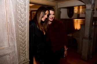 WASHINGTON, DC - MAY 03: Models Irina Shayk (L) and Linda Evangelista attend the Bloomberg & Vanity Fair cocktail reception following the 2014 WHCA Dinner at Villa Firenze on May 3, 2014 in Washington, DC.  (Photo by Dimitrios Kambouris/VF14/WireImage)